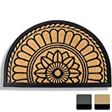 Mibao Half Round Entrance Door Mat, 24 x 36 inch Winter Durable Large Heavy Duty Front Outdoor Rug, Non-Slip Welcome Doormat for Entry, Patio