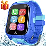 Kids Fitness Tracker Smart Watch Phone with GPS Tracker for Boys Girls Sport Watch with Pedometer SOS Camera Wrist Watch Waterproof IP67 for New Year Birthday Gifts (Blue)