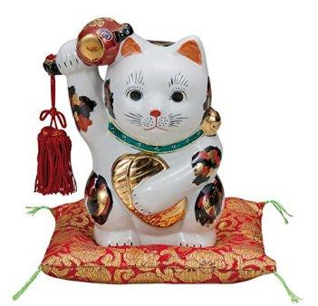 Kutani No. 6 gavel raised oval beckoning cat , tortoiseshell