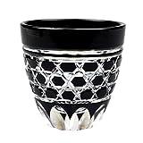 Guinomi Sake Cup Shot Glass Edo Kiriko Design Cut Glass Black - Rokkaku-Kagome Hexagon Pattern [Japanese Crafts Sakura]