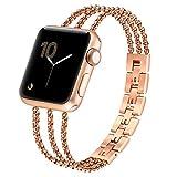 fastgo Compatible for Apple Watch Bracelet 38mm 40mm, Women's Adjustable Bands Bracelet Compatible for Apple Watch(Brass Gold, 38mm/40mm)