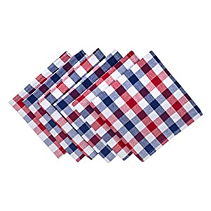"DII 100% Cotton, Oversized Basic Everyday 20x20"" Napkin Set of 6, Red , White & Blue Check"