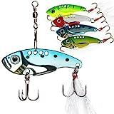Sougayilang Colorful Hard Spoon Spinner Fishing Lures Metal Treble Hooks Baits Pack of 5pcs