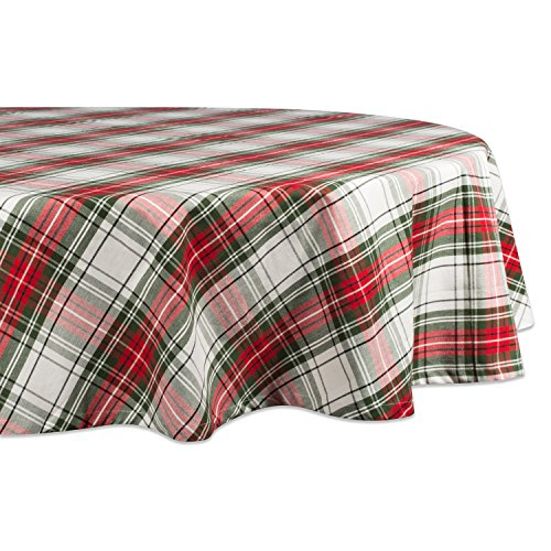 DII Christmas Plaid Round Tablecloth, 100% Cotton with 1/2' Hem for Holiday, Family Gatherings, & Christmas Dinner (70' - Seats 4 to 6)
