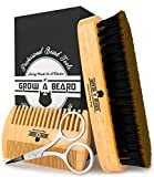Beard Brush & Comb Set for Men's Care   Christmas Giveaway Mustache Scissors   Gift Box & Travel Bag   Best Bamboo Grooming Kit to Distribute Balm or Oil for Growth & Styling   Adds Shine & Softness