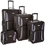Rockland Luggage 4 Piece Set, Black/Gray, One Size