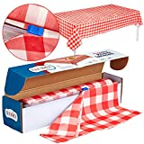 Red Gingham Plastic Tablecloth Roll With Cutter, 100' x 52' - Heavy Duty Party Table Cloth In Self Cutting Box - For Picnics, BBQs, and Birthday Parties - By Clearly Elegant