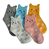5 Pairs Womens Fun Socks Cute Cat Animals Funny Funky Novelty Cotton Gift (Cute Cat) Size: Free size 22.5-25.5cm Suitable for women US Size 5-8
