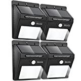 BAXIA TECHNOLOGY Outdoor Waterproof Motion Sensor Solar Bright Security Lights - 12 LEDs Wireless for Wall (4-pack)
