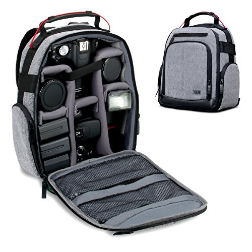 USA GEAR Portable Camera Backpack for DSLR/SLR (Gray) w/ Customizable Accessory Dividers, Weather Resistant Bottom, Comfortable Back Support - Compatible w/Canon EOS T5/T6 - Nikon D3300/D3400 & More