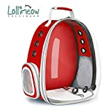 Lollimeow Pet Carrier Backpack,Space Capsule Transparent Backpack for cat and puppy,Airline-Approved, Designed for Travel, Hiking, Walking & Outdoor Use(Red)