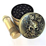 KW Collection Zinc Alloy Spice Grinder Antique Brass 2'/50mm 4 Piece with Free Pollen Presser and Pollen Catcher with Skull Head Designed on Top