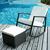 Merax WF036008AAA Lounge Wicker Chair Furniture with with Cushioned Ottoman