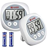 Habor 2 Pack Cooking Timers, Large Display Digital Kitchen Timer with Loud Beep Alarm, Strong Magnet Second Minute Count up & Countdown Timer for Cooking Baking Sports Game Office (Batteries Included)