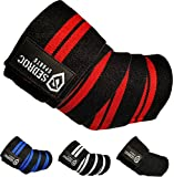 Sedroc Sports Weight Lifting Elbow Wraps Powerlifting Support Sleeves Straps - Pair (Red)