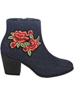 FN23 Women's Side Zipper Stacked Heel Embroidered Floral Ankle Booties