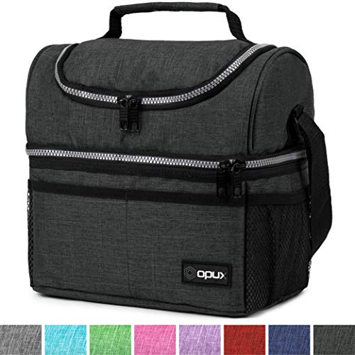Thermal Insulated Dual Compartment Lunch Bag for Men, Women | Double Deck Reusable Lunch Box with Shoulder Strap, Leakproof Liner | Medium Lunch Box for School, Work, Office (Charcoal)