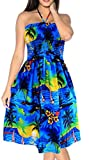 LA LEELA Soft  Printed Womens Work Casual Stretchy Tube Dress Blue...