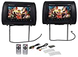 "Pair Rockville RHP91-BK 9"" Digital Panel Black Car Headrest Monitors w/Speakers"