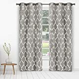 Kelvin - Alena Metallic Blackout Room Darkening Grommet Top Window Curtains Pair Panel Drapes for Bedroom, Living Room - Set of 2 Panels - 38 X 84 Inch - Silver