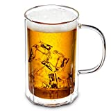 ZENS Octagon Glasses Beer Mug, Double Wall Glass Beer Mugs with Handle, 18oz Large Craft Beer Glasses for Freezer, Iced Tea, Mojito