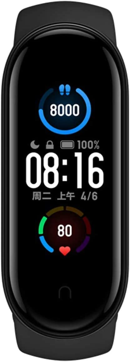 "Xiaomi Mi Band 5 Fitness Tracker, Newest 1.1"" Color AMOLED Display Black Sport Band"