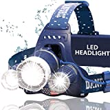 DanForce Brightest waterproof Headlamp Head Lamp with 1080 Lumens,3 Originals Cree LED,2 Powerful Rechargeable Batteries, Maximum Comfort Headlamps Flashlight For Outdoor & Indoor, With Red Light