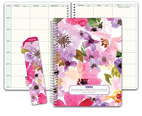 Combination Plan and Record Book: One Efficient 8-1/2 x 11 Book for Lesson Plans and Grades Combines W101 and R1010 (PR7-10) (+) Bonus Clip-in Bookmark (Spring Floral)