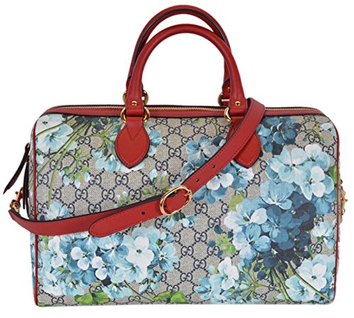 """GG Supreme Coated Canvas in Blooms Print, Detachable Shoulder Strap with a 19"""" Drop, Zip Top Close, Red Contrasting Leather Trim, Protective Feet, Soft Leather Lining, Interior Zip and Slip Pockets, Interior Gucci Serial Number,"""