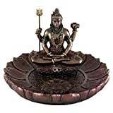 TLT 5 Inch Shiva Round Lotus Incense Holder Sculpture Statue Hindu Deity Hinduism