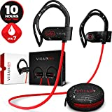 Bluetooth Workout Wireless Headphones for Running and Gym - Mens Best Noise Cancelling Sports Earbuds - in Ear Waterproof IPX7 Sport Earphones - HD Stereo Sound Headset (Red)