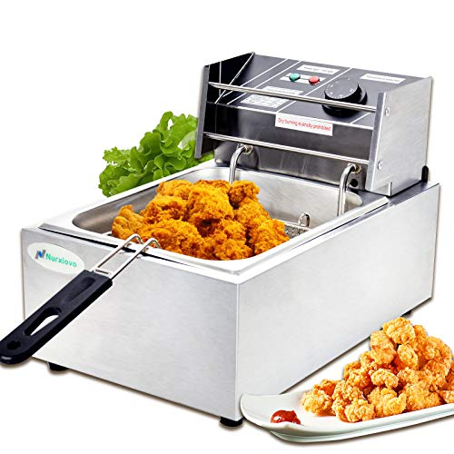 Electric Deep Fryer -Nurxiovo 8L Commercial Small Deep Fryer with Basket Countertop French Fries Restaurant Home Kitchen 1 Tank