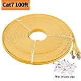 Viodo Compatible with Cat 7 Ethernet Cable,Flat Internet Network LAN Patch Cords, Cat7 10GB Fastest Shielded (STP) Computer Internet Cable with Clips & Snagless Rj45 - More Feet & Colors Choose