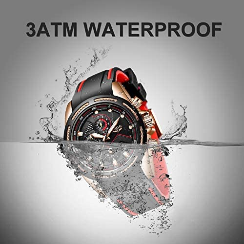 Lige Men's Watch Fashion Waterproof Silica Gel Chronograph Luxury Business Analog Quartz Watches Classic Black Belt Date Calendar Watch 4