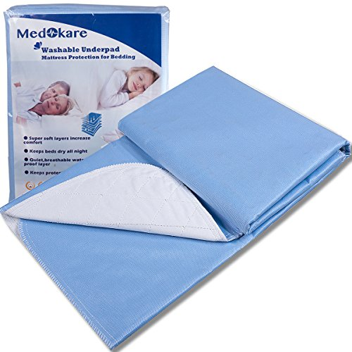 Medokare Bed Mat Bedwetting Underpads - Washable 2 Pack 36x52, Hospital 1500ml Soft Reusable Waterproof Bed Mats for Incontinence Kids Elderly Adults, Sheet Bed Mattress Pad Protector for Queen Beds