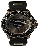 Superman Men's SUP9123 Black Rubber Strap Gunmetal Analog Watch