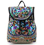 Goodhan Vintage Women Embroidery Ethnic Backpack Travel Handbag Shoulder Bag Mochila (S01: Purple)