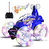 UTTORA RC Stunt Car Invincible Tornado Twister Remote Control Truck, 360° Spinning & Flips with Color Flash & Music for Kid Toy, Blue