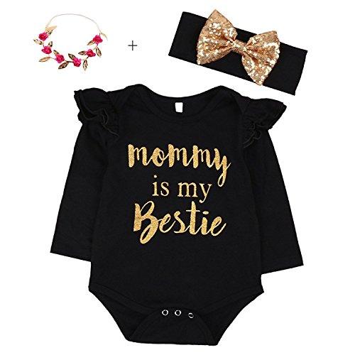 """Newborn Baby Girls Clothes Floral """"Mommy is My bestie"""" Bodysuit Romper +headband (0-6 Months, Black)"""