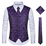 WULFUL Men\s 3pc Paisley Vest Necktie Pocket Square Set for Suit or Tuxedo (Purple, S(Chest 41)