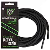 IRONLACE Paracord 550 shoe laces for sneakers, running, hikers and boots, Midnight Black, 72' round shoelaces