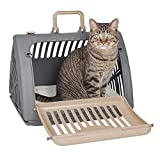 SportPet Designs Foldable Travel Cat Carrier with A Bed - Front Door Plastic Collapsible Carrier