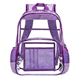 Heavy Duty Clear Backpack Stadium Approved Transparent Bookbag See Through Backpack Fits 15 Inch Laptop for Adults Women Men Colloge Work Travel,Purple