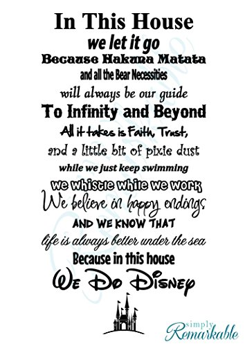 In This House We Do Disney - Vinyl Wall Decal Sticker - Made in USA - Disney Family House Rules (11
