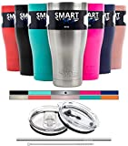 Tumbler 30 oz - Smart Coolers - Ultra-Tough Double Wall Premium Insulated Ultimate Set - Compare to Yeti, Beast or RTIC - Leak-Proof Lid + Sliding Lid + Straw + Brush + Gift Box - Stainless Steel