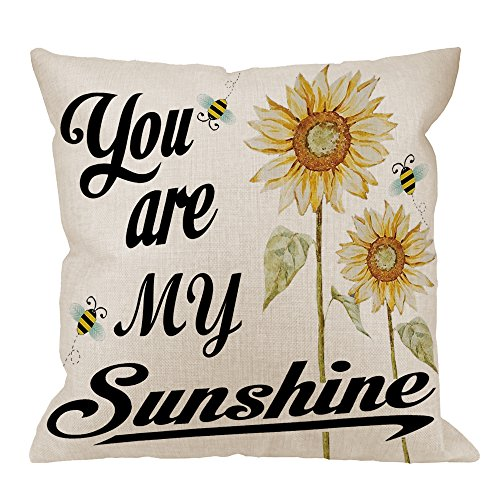 HGOD DESIGNS You Are My Sunshine Pillow Case, Quote with Bees and Yellow Sunflowers Cotton Linen Cushion Cover Square Standard Home Decorative for Men/Women/Kids 18x18 inch White Black Yellow