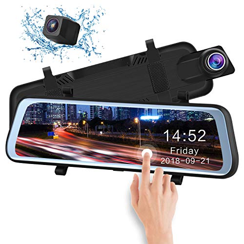 CHICOM Mirror Dash Cam Backup Camera 9.66' Full Touch Screen Stream Media Dual Lens Full HD Reverse Camera,1080P 170° Full HD Front 1080P 140°Wide Angle Full HD Rear View Camera,24-Hour Parking