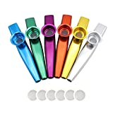 Petift Set of 6 Colors Metal Kazoo Musical Instruments Flutes Companion With 6 Pieces Kazoo Diaphragms for Guitar,Ukulele, Violin, Piano Keyboard for Kids Music Lovers