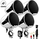 GoHawk AN4-QX 4-Channel All-in-One Amplifier 4.5' Full Range Waterproof Bluetooth Motorcycle Stereo Speakers Audio Amp System w/AUX for 1 to 1.5' Handlebar Harley Cruiser Can-Am ATV UTV RZR Polaris