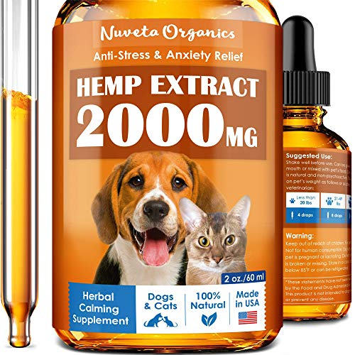 Hemp Oil for Dogs & Cats 2000mg - Made in USA - Stress and Inflammation Relief - Hip & Joint Support for Pets - Premium Hemp Extract for Separation Anxiety and Fear of Storms - Natural Calming Effect